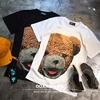 欧美INS风可爱搞怪潮流 泰迪小熊bear印花 bf宽松OS男女款短袖T恤