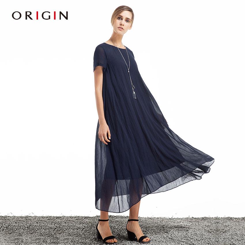 ORIGIN安瑞井品牌女装2016春夏新连衣裙原创英伦大码宽松亚麻长裙