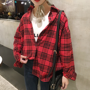 2017春装翻领格子百搭衬衫韩国中长款宽松显瘦长袖上衣女学生