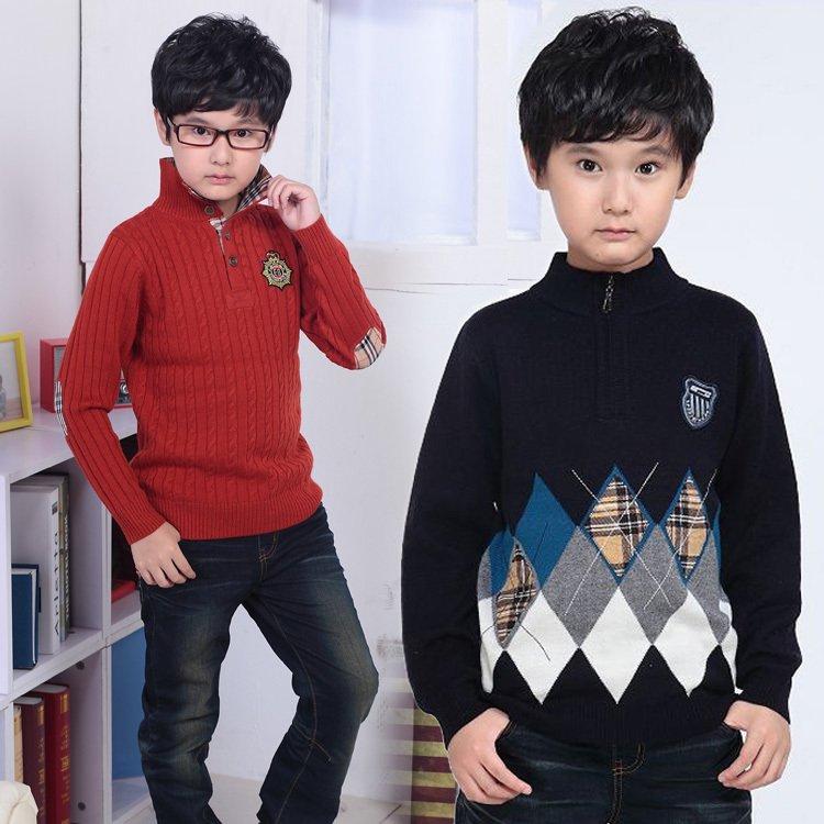 爆款2016秋冬韩版小中大童潮男童套头毛衣休闲童装加厚儿童羊毛衫