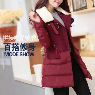 2014冬装中长款羊毛呢子拼接羽绒棉衣棉服女装外套