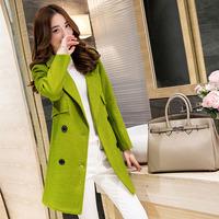 2015冬季新款韩版时尚修身毛呢外套女中长款显瘦双排扣羊毛呢大衣