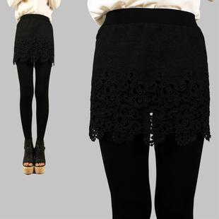 2014秋款女士外穿蕾丝拼接假两件打底裤包臀显瘦大码裤裙裤 裤