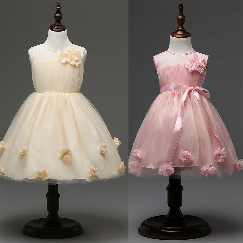 2016 New baby flower girls princess dress kids party dresses