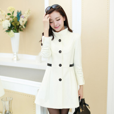 2014 fall and winter clothes new Korean version of large size women in the long section woolen coat collar single-breasted wool coat woman