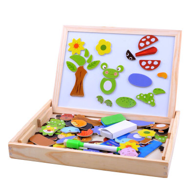 Wooden balls magnetic fight fight music wooden three-dimensional jigsaw puzzle toy building blocks 2-3-6 Sketchpad children under the age of