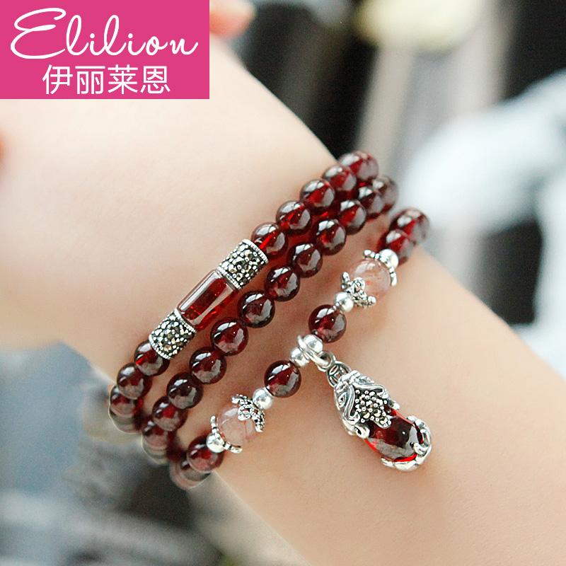 酒紅天然石榴石貔貅手鏈女多圈水晶手串吊墜韓版飾品銀飾禮物包郵圖片