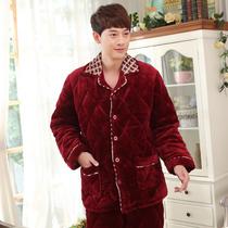 冬季加厚法兰绒夹棉睡衣加大码男士冬天大红珊瑚绒夹棉家居服套装