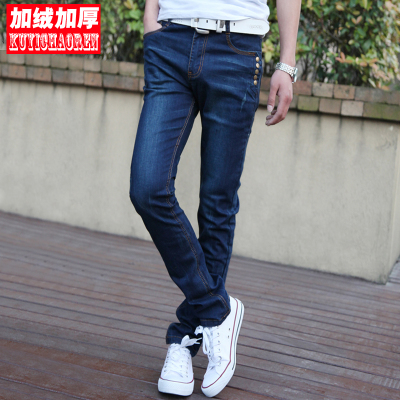 2014 new winter men's jeans men plus velvet pants feet trousers Slim Korean men's trousers pencil pants