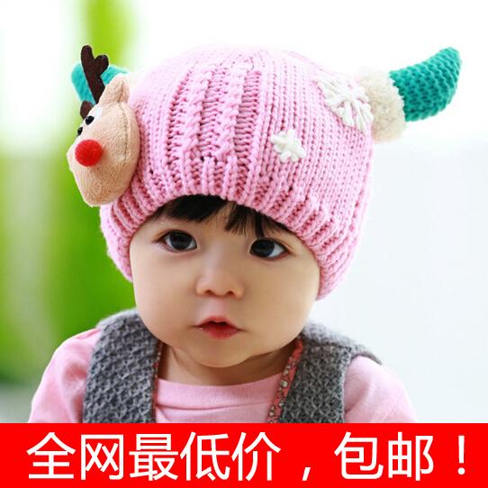 Головной убор Ребенок ребенок детей Рождество шляпы для мужчин и женщин плюс осень/зима плюшевые мягкие Cap Horn Cap палевый шерсть шляпа двойной пост