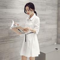 白色衬衫连衣裙女中长款上衣棉翻领女装2016秋装新款韩范春秋裙子