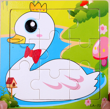 Wooden child/wooden baby 9 piece jigsaw puzzle jigsaw puzzle animals 0-1-2-3 - year - old toys for children