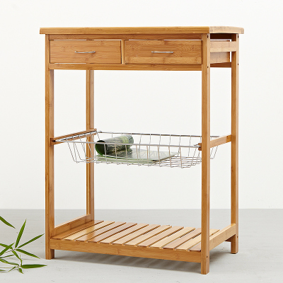Bamboo Bamboo Continental Shelf pastoral governance creative Shelves simple two iron basket multifunction double drawer racks