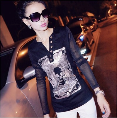 2014 Hitz Korean yards blouses women bottoming shirt long sleeve mesh shirt Slim T-shirt tide