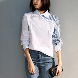 2018春秋上衣不规则设计感心机衬衫女韩范蓝白拼接条纹衬衣