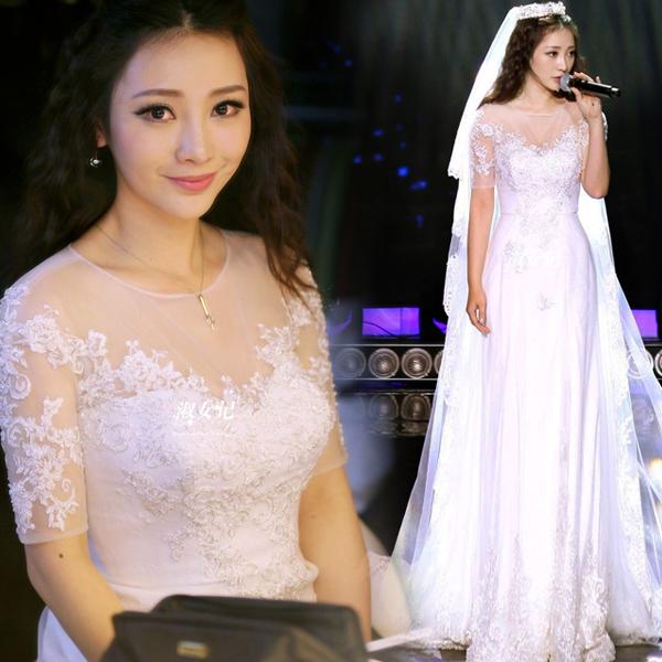 2015新款韩式新娘鱼尾拖尾透视露背中长袖蕾丝婚纱礼服583