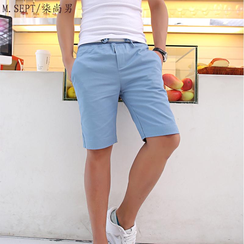 柒尚男】夏装韩版修身五分裤 男休闲男士沙滩短裤男休闲裤男马裤