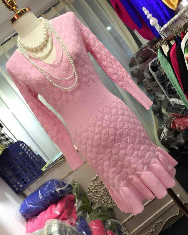 Женское платье Оптовые магазины Huahuanini Корейский Dongdaemun осенью и зимой, принимать рыбу крюк трикотажные платья с тонким