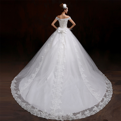 The new 2014 winter wedding dress bridal fashion word shoulder was thin big yards long trailing wedding bandage winter models