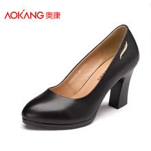 奥康浅口单鞋女 牛皮通勤百搭高跟鞋舒适粗跟套脚女鞋图片