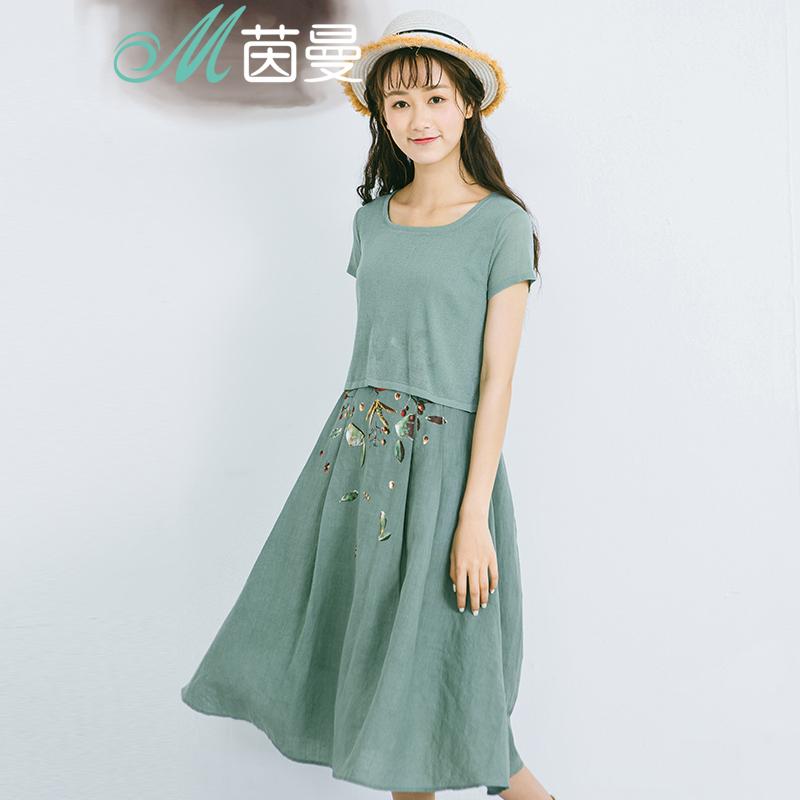 茵曼女装夏装2016新款裙子夏假两件连衣裙A字裙女中裙1862102562