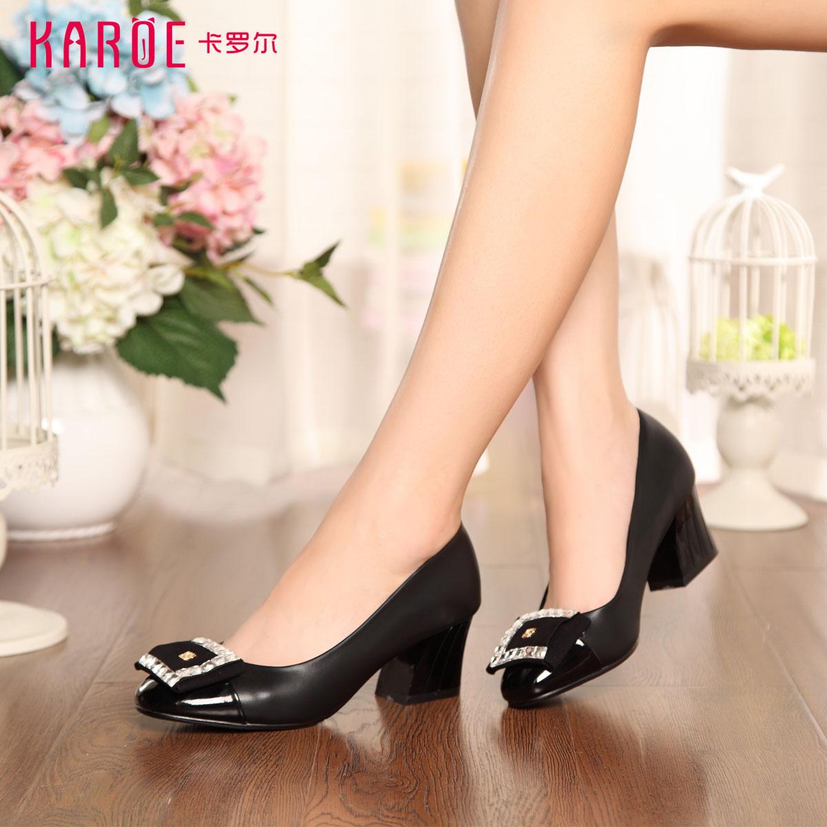 卡罗尔/karoe正品夏季单鞋粗跟浅口圆头舒适PU女鞋 百搭鞋t6633