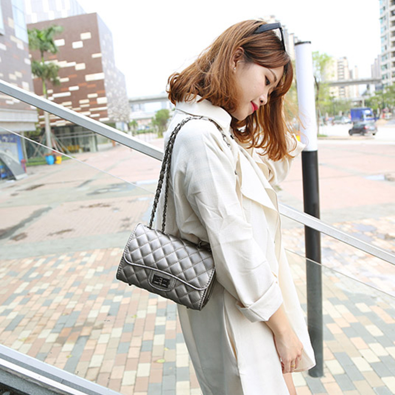 得凡希包包2016新款女包 手提包迷你包女士包包菱格链条包欧美潮