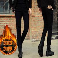 秋季冬款男士黑色牛仔裤男加绒青少年修身长裤弹力小脚裤男装裤子