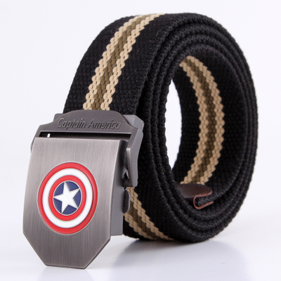 Captain America Men thick braided belt canvas belt casual trend wild Korean version of the belt can be lengthened