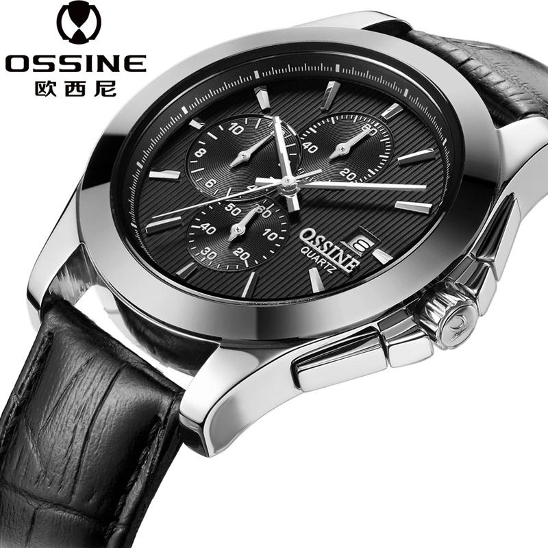 正品 欧西尼男表 皮带手表 防水商务男士手表 腕表 石英表 手表男