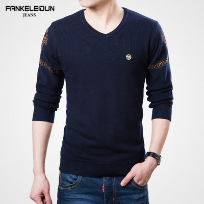 Van Ke Leidun 2014 winter new men's casual men's V-neck sweater thick solid color cashmere sweater tide
