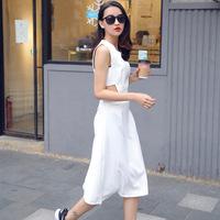欧美风时尚性感露腰连衣裙2015夏季新款女装圆领无袖修身显瘦裙子