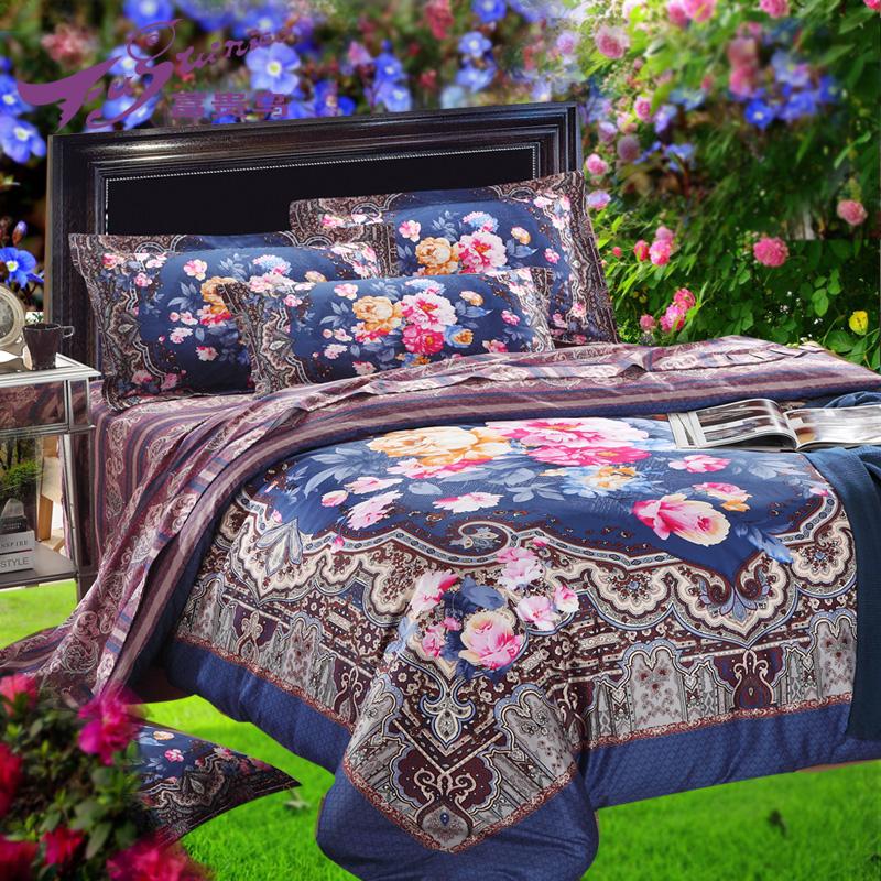 富贵鸟家纺 床上用品 活性纯棉全棉埃及长绒棉贡缎全棉床单四件套