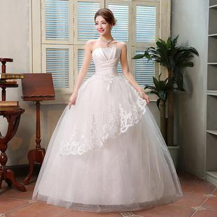 婚纱礼服2018冬 新娘抹胸抹胸蕾丝时尚齐地婚纱绑带镶钻