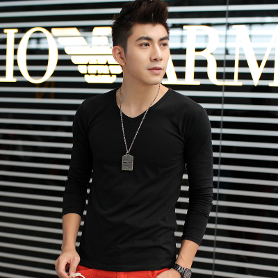 Thebe Where Seaga fall and winter clothes thick velvet V-neck long-sleeved t-shirt Men Korean Slim primer shirt men's clothes