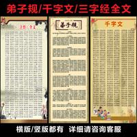 三字经弟子规千字文全文海报儒家文化教室布置贴图标语挂图装饰画