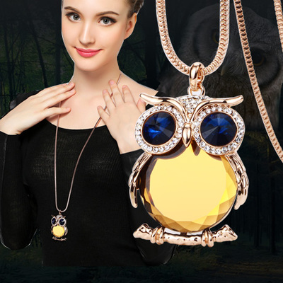 zabrina2014 wild autumn and winter fashion crystal jewelry long necklace sweater chain accessories Crystal Owl