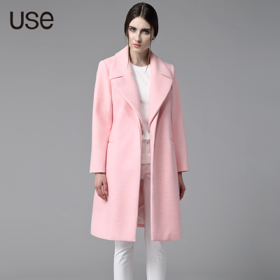 USE2014 winter new European and American big pink detachable turned straight round neck and long sections woolen coat female