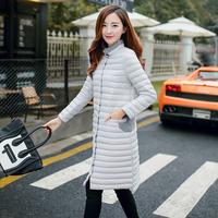 2015冬装新款韩版显瘦修身超轻薄羽绒服女中长款加长立领外套潮