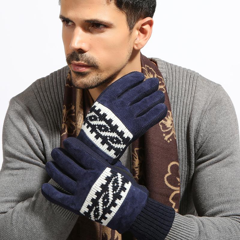 秋冬季款真皮保暖手套加绒加厚户外骑行骑车手套男士防寒防滑防风