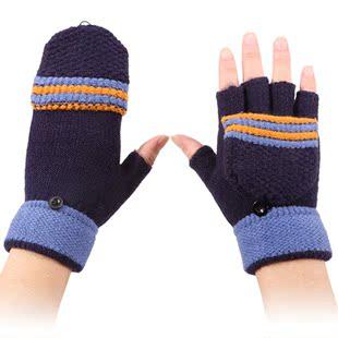 男女半指手套毛线韩版针织翻盖上网秋冬防寒保暖学生写字露指手套