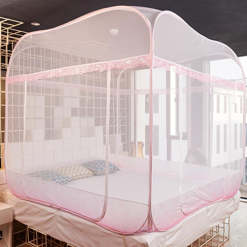 唐纺上品宫廷方顶蒙古包蚊帐 1.5m床家用三开门加密免安装1.8m床