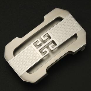 男不锈钢皮带扣头平滑扣内穿式3.8cm腰带头潮G字母 时尚商务款式