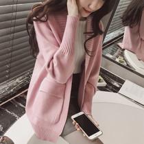 中长款开衫春装新款女装韩版学院风宽松长袖针织衫春秋毛衣外套潮