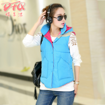 2014 autumn and winter fashion Korean casual student new large size fat MM hooded vest vest jacket coat female tide