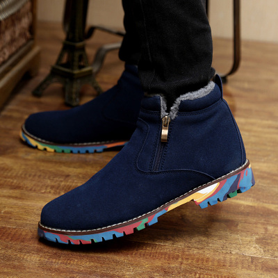 Men's shoes plus velvet warm winter padded shoes men fashion trend of male boots male boots Martin boots Korean version of