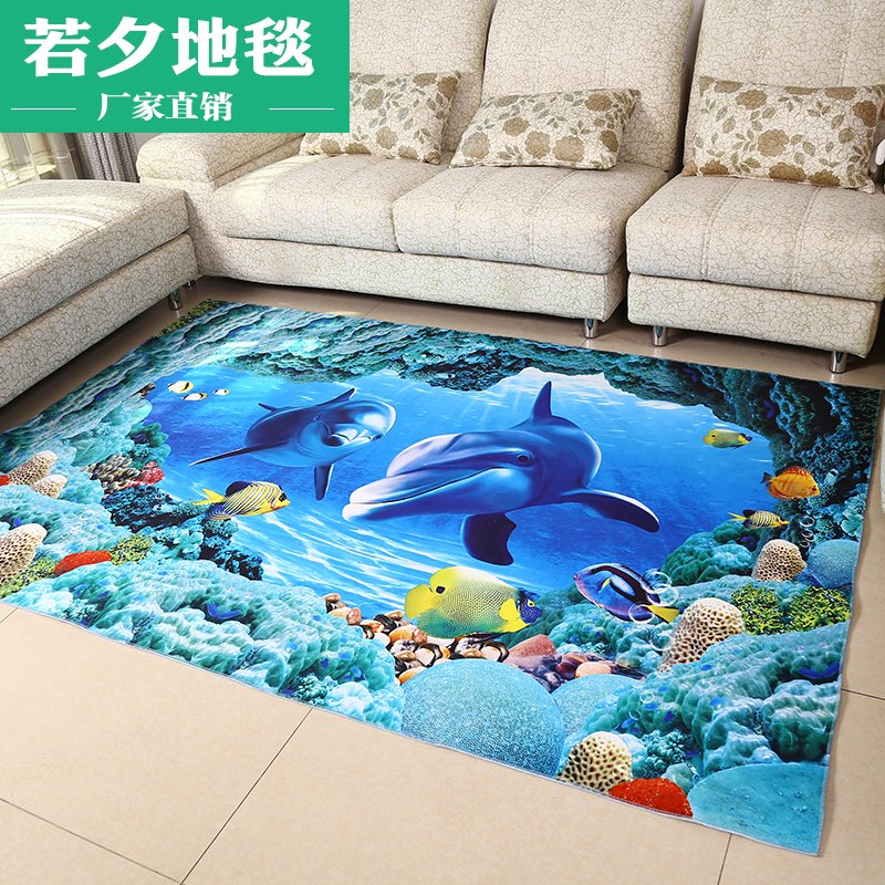 欧式3D立体印花地毯卡通客厅地毯卧室地垫防滑门垫儿童脚垫长方形
