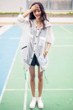 AUDREY WANG, Europe and the United States hooded perspective is prevented bask in clothes draw string windbreaker coat female