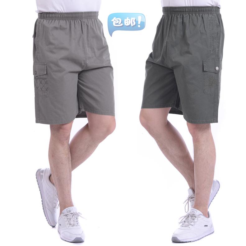 夏季中年男士五分裤爸爸宽松纯棉短裤大码中老年休闲5分裤沙滩裤