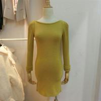 现货代购正品韩国进口服装新款9分袖秋冬季美裙毛连衣裙 女包邮